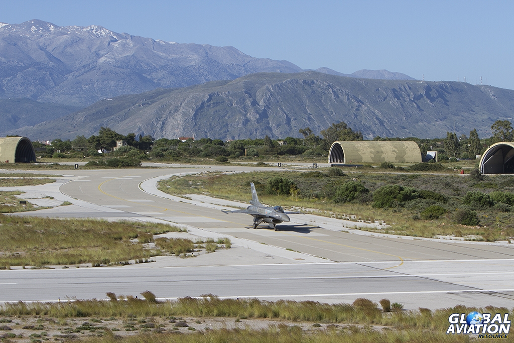 Set with the stunning backdrop of the White Mountains Chania Air Base provides some beautiful opportunities for the photographer © Tom Gibbons - Global Aviation Resource