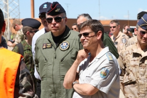 The Commander of the Lithuanian Air Forces, Major General Edvardas Mažeikis (left), and the Commander of the Bulgarian Air Force, Major General Constantin Veselinov Popov (right), listen in to a brief from the German Air Force © Karl Drage - www.globalaviationresource.com