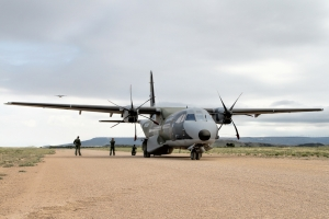 Parked up on the gravel runway at Ablitas after suffering a puncture © Karl Drage - www.globalaviationresource.com