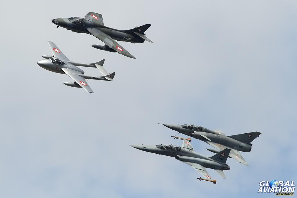 Civilian Vampire T55, Hunter T68, Mirage IIIDS & Swiss Air Force F-5F Tiger II © Dean West - globalaviationresource.com