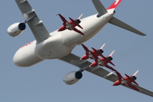 Swiss Air A330 & Patrouille Suisse © Dean West - globalaviationresource.com