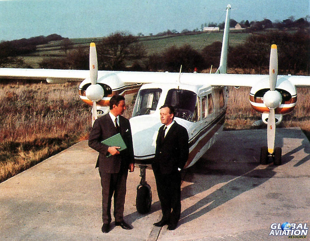 Britten norman as the company s official paint scheme design company - John Britten And Desmond Norman With Their Classic B N Islander Aircraft Bn Historians