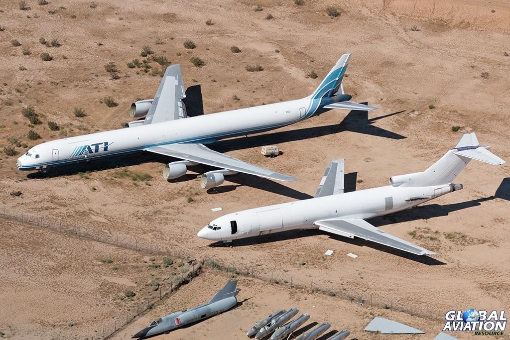 ex ATI DC-8-73AF N8603AL and ex FedEx Boeing 727-200F N491FE - © Paul Filmer - Global Aviation Resource