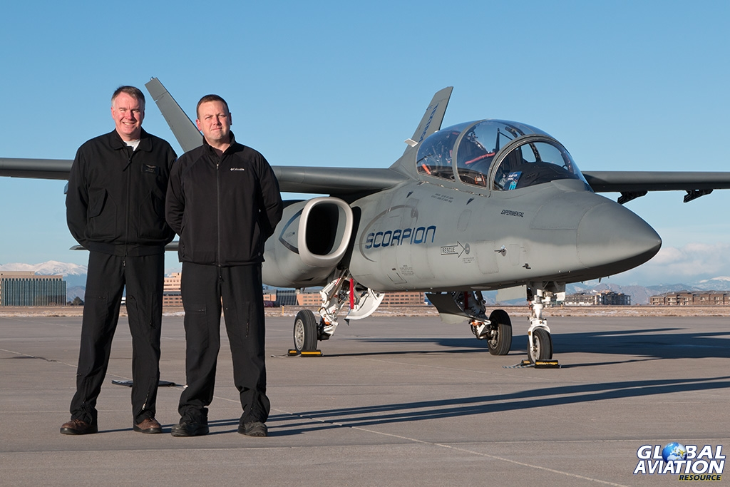 Dan Hinson chief test pilot Scorpion and Andy Vaughan on the ramp at Centennial © Paul Filmer - Global Aviation Resource