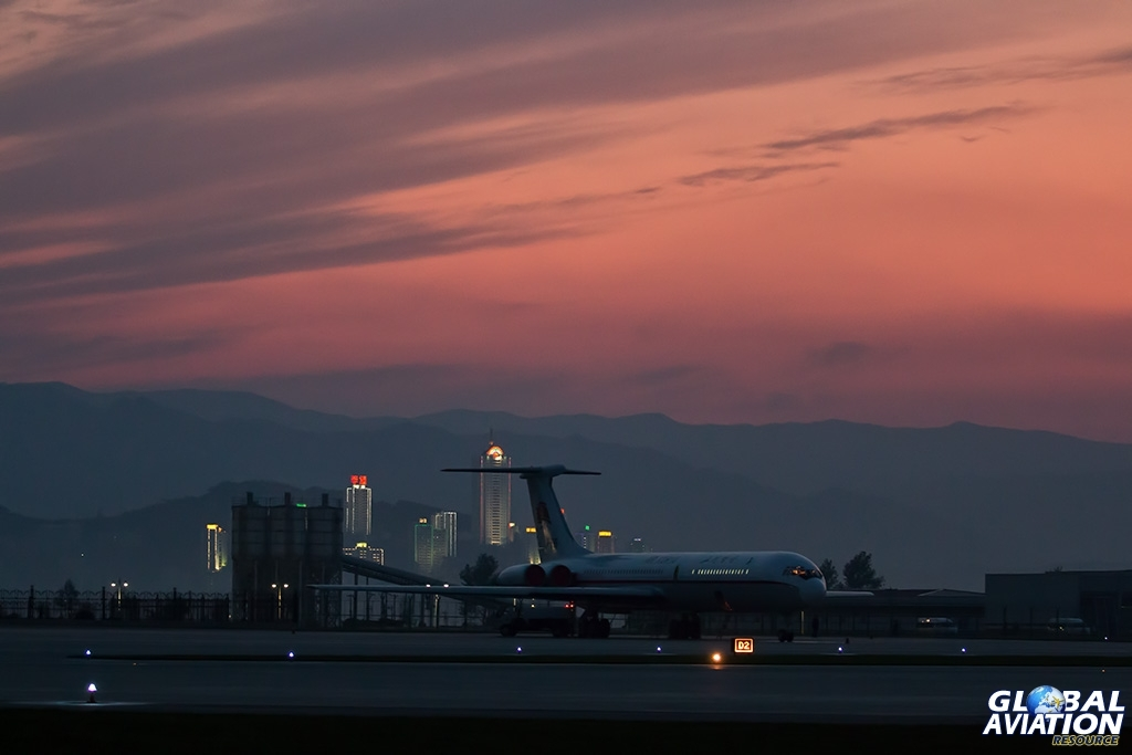 Air Koryo Il-62M at sunset - © Paul Filmer - Global Aviation Resource