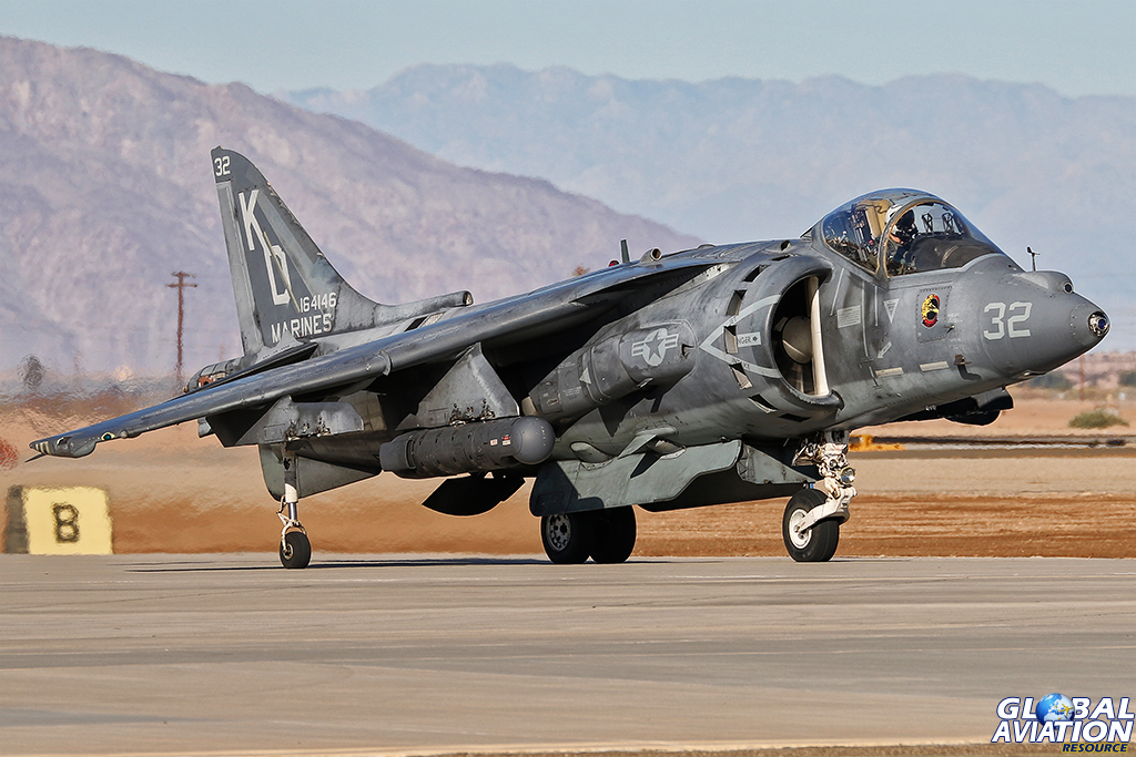 This filthy AV-8B departed NAFEC, but returned shortly after. Ten minutes later and the jet was back in the air. © Alan Kenny - globalaviationresource.com