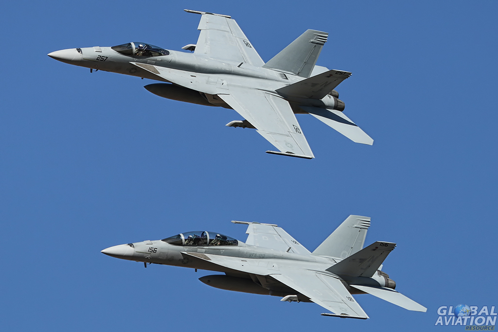 F/A-18E and F/A-18F from VFA-122 'Flying Eagles' break to join the circuit. Alan Kenny