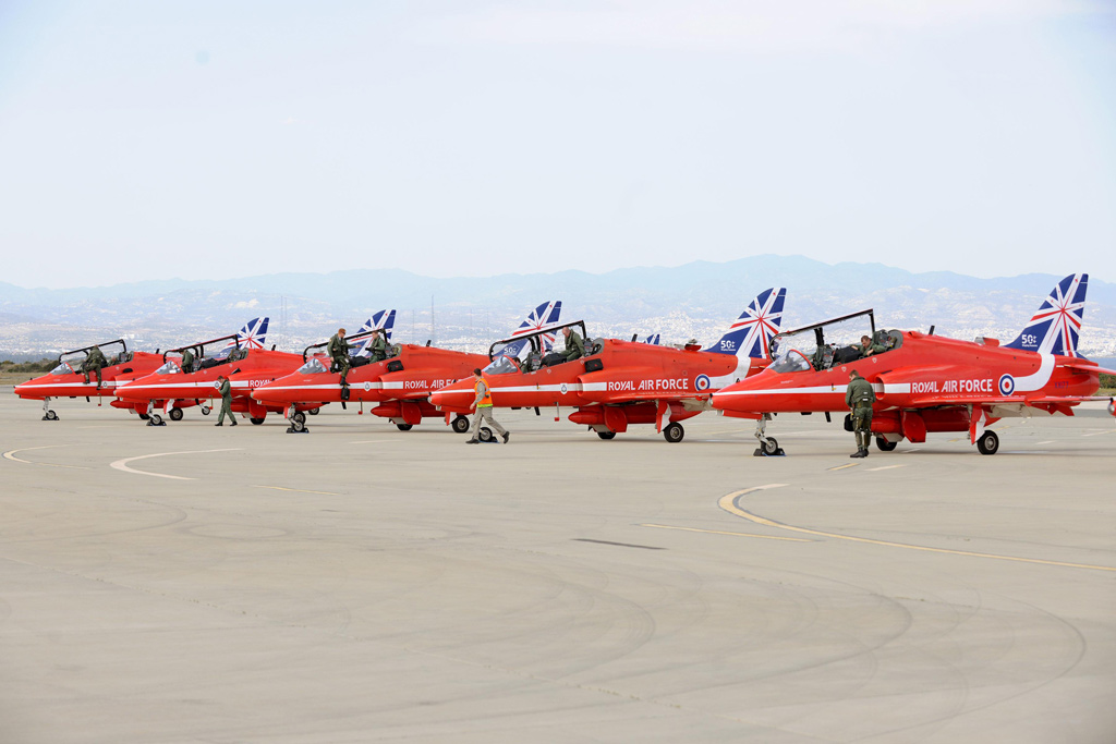 The Red Arrows on the pan at RAF Akrotiri - MoD / Crown Copyright