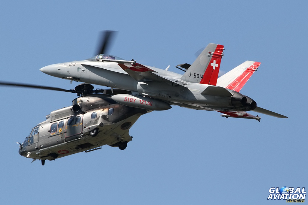 Swiss Air Force F/A-18C Hornet & AS532UL Cougar © Dean West - globalaviationresource.com