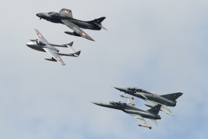 Civilian Vampire T55, Hunter T68, Mirage IIIDS & Swiss Air Force F-5F Tiger II © Dean West - globalaviationresource.com