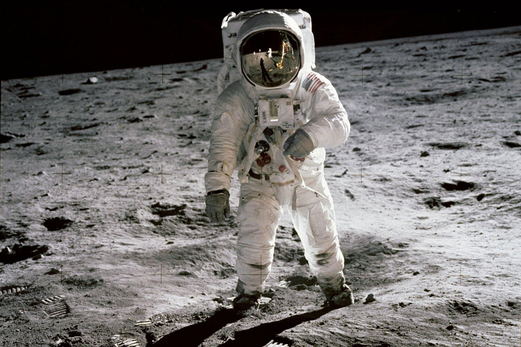 Aldrin on the surface of the moon - NASA