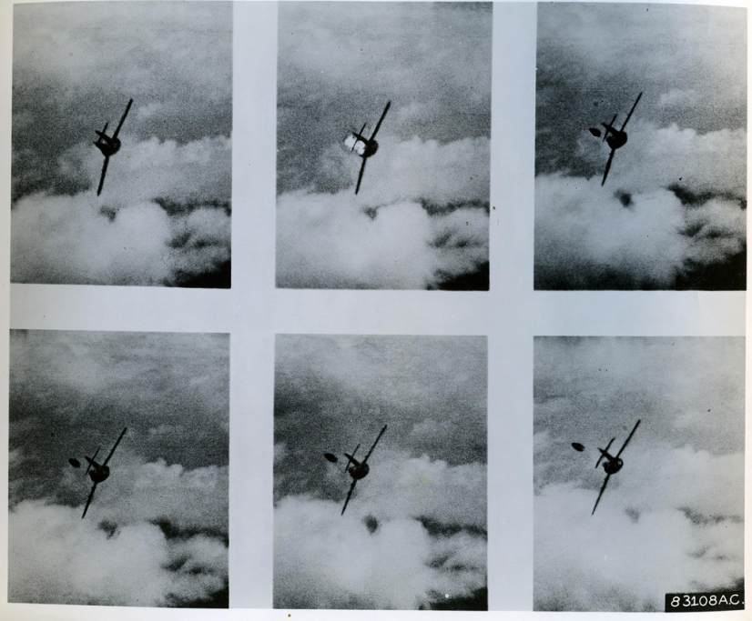 Still images from the gun camera film show an enemy pilot bailing out of a MiG 15 shot down by Lieutenant Buzz Aldrin, five miles south of the Yalu River, 14 May 1953 - USAF