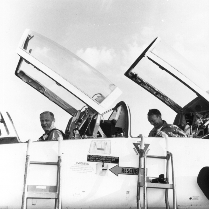 Buzz Aldrin (L) and Michael Collins on arrival at Patrick Air Force Base in a T-38 - NASA