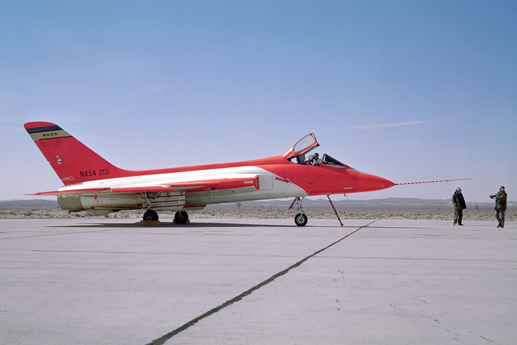 Douglas F5D Skylancer following a test flight - NASA