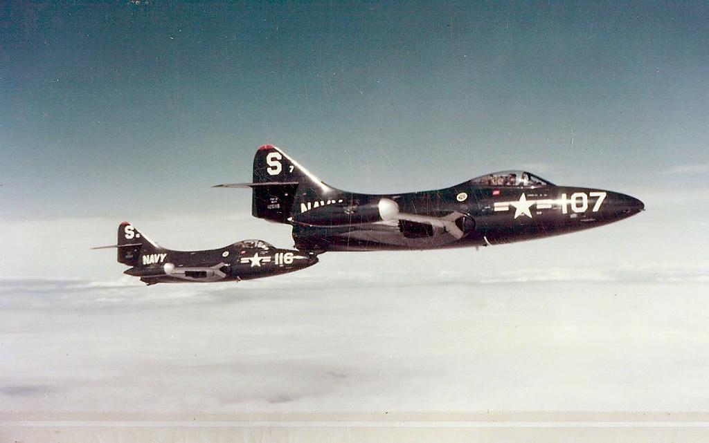 Ensign Neil Armstrong flying Grumman F9F-2 Panther 125122 number 116 for VF-51 - US Naval Aviation Museum