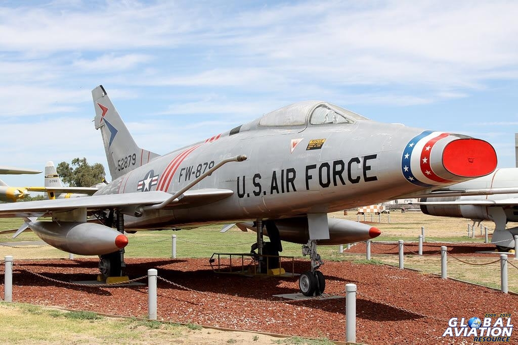 This aircraft is the very first F-100C and was flown by Neil Armstrong - it can now be seen at Castle Air Museum © Paul Dunn - Global Aviation Resource