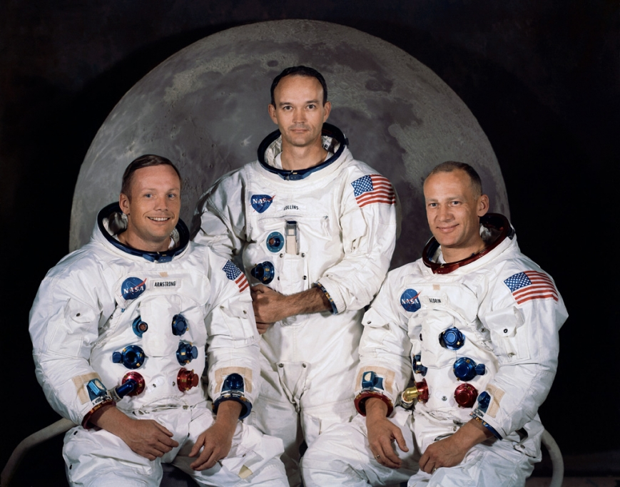 The crew of Apollo 11 - (L to R) Neil Armstrong, Michael Collins and Buzz Aldrin - NASA