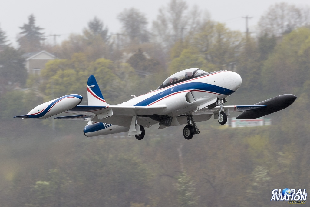 Boeing's chase T-33 gets airborne in the rain - © Rob Edgcumbe Global Aviation Resource