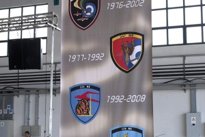 Badges of the five HAF squadrons to have flown the A-7 displayed at the retirement ceremony © Tom Gibbons - Global Aviation Resource