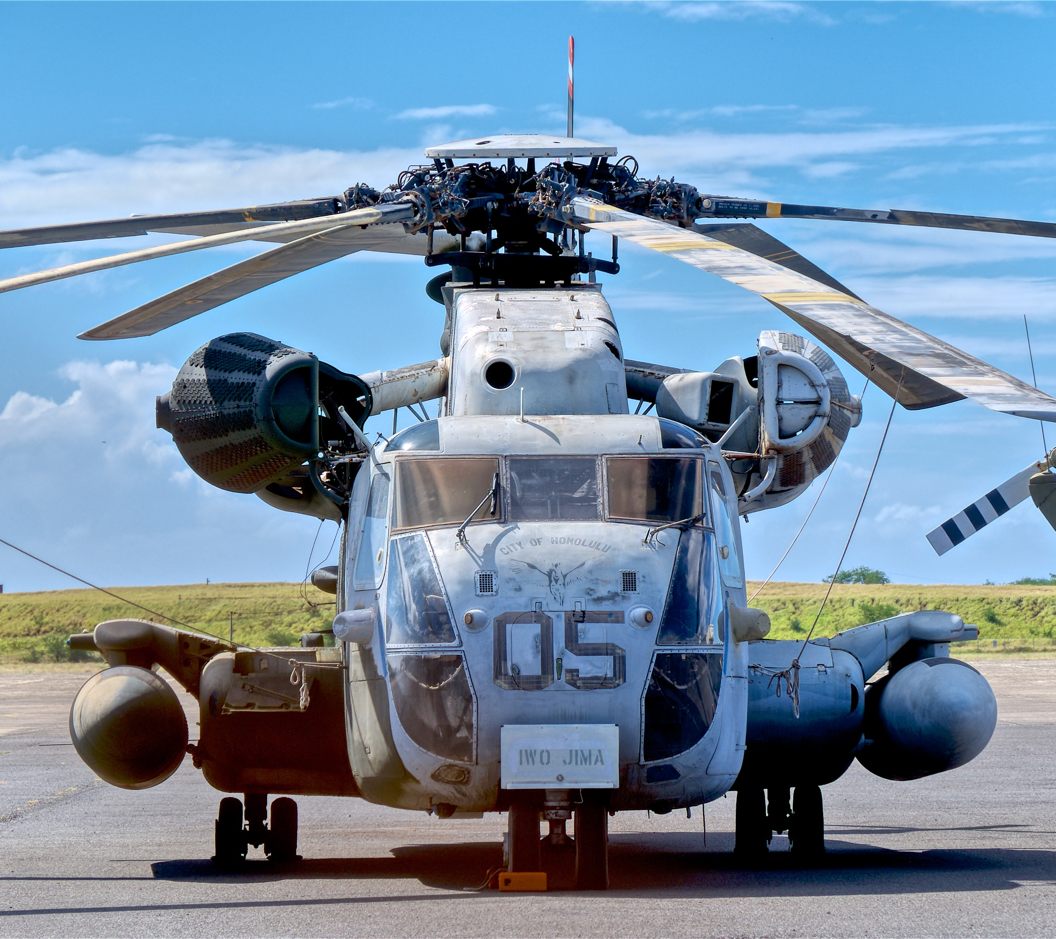 The brutish Sikorsky CH-53D Sea Stallion is the largest helicopter in the world outside of Russia. This one performed minesweeping duties, did presidential support work, and flew in Desert Storm. © Hayman Tam - Global Aviation Resource