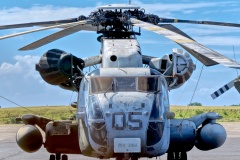 The brutish Sikorsky CH-53D Sea Stallion is the largest helicopter in the world outside of Russia. This one performed minesweeping duties, did presidential support work, and flew in Desert Storm.