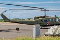 An instantly recognizable Bell UH-1H Iroquois.  This Huey saw a bit of action in Vietnam, surviving a crash and sent Stateside for major repairs before being shipped back for more combat flying.