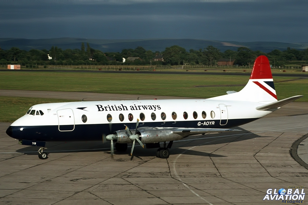 Viscount 800 G-AOYR started life with BEA in 1958, and was sold to BKS Air Transport in late 1969. Having progressed to Northeast Airlines, it found its way back into the fold when Northeast was subsumed into the newly formed British Airways in 1974. Its last BA action was in March 1982. Surely some of the largest cabin windows in commercial aviation, and they smelt reassuringly of an old car inside! © Doug Green - Global Aviation Resource