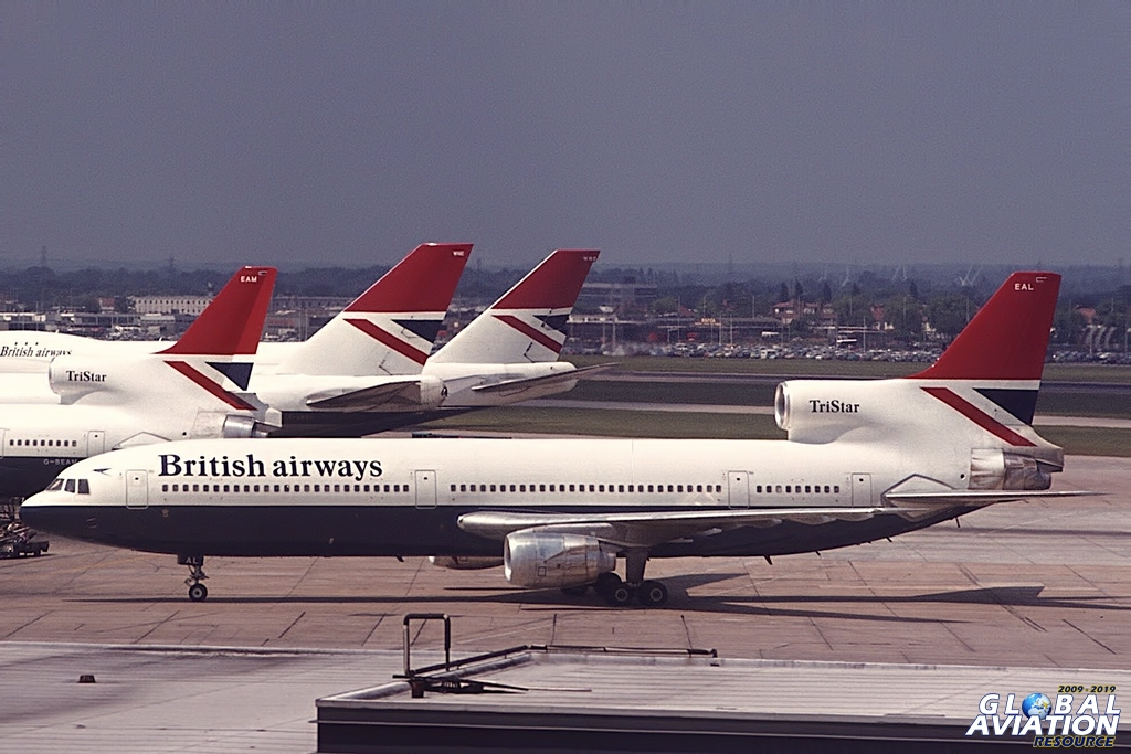 By some accounts, BA preferred the Airbus A300, but was pressured into acquiring the TriStar to support troubled Rolls Royce. In this 1977 Heathrow view, the aft cabin will be a little noisy because the aerodynamic fairing between the tail engine intake duct and the fuselage roof has not been installed, and all the cabin doors are the same size. The original design included a smaller no. 4 door, and the large version allowed higher cabin occupancy (evacuation consideration). BA also introduced the series -500 short version TriStar in the Negus era © Doug Green - Global Aviation Resource