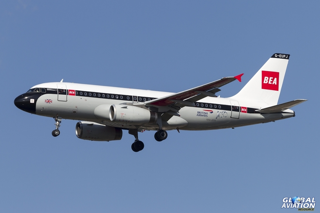 G-EUPJ Airbus A319-131 British Airways 'BEA Red Square' retro livery. Arriving at London Heathrow from Milan / Linate as BA577, 24 March 2019 © Tom Gibbons - Global Aviation Resource