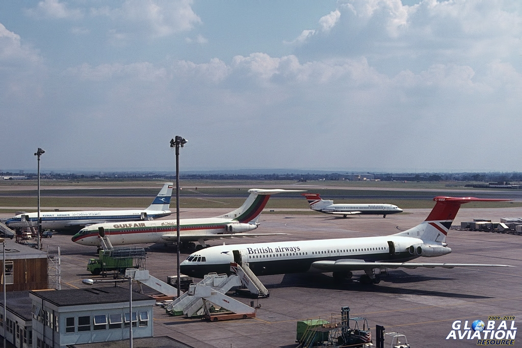 If this 1977 viewpoint were accessible today (terminal 2 car park roof), the horizon would consist of Terminal 4 on the left, the VIP terminal at centre, and the cargo complex to the right © Doug Green - Global Aviation Resource