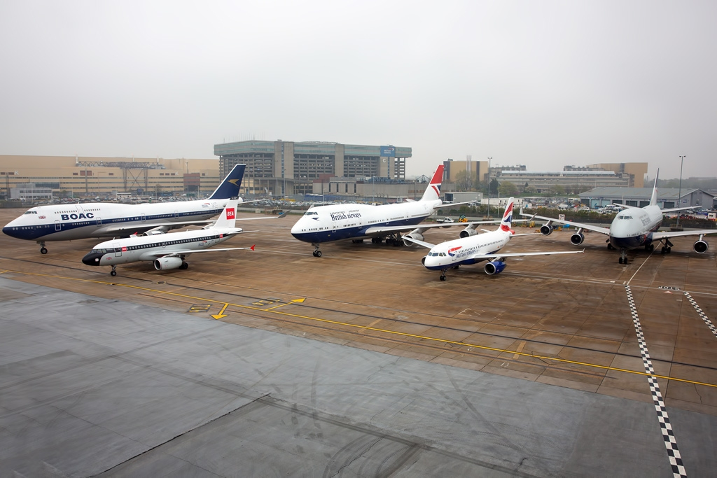 09/04/19 - To capture the photo, the four heritage aircraft, which were in scheduled downtime and parked at the airline's engineering base, were lined up alongside an aircraft with the current Chatham Dockyard design. The painstaking process of arranging them for the photo took over two (careful) hours - Image © British Airways