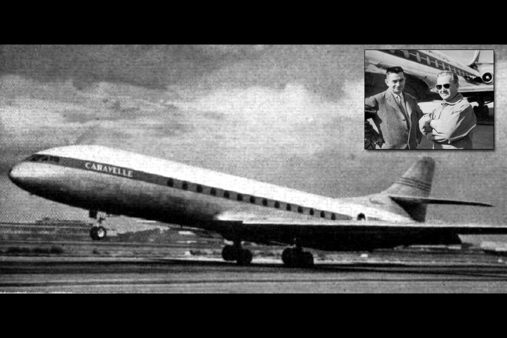 The maiden flight of the Caravelle with (inset) Pierre Nadot (right) and Pierre Satre seen in front of an Air France Caravelle. Satre would go on to be Concorde's Chief Designer - both public domain