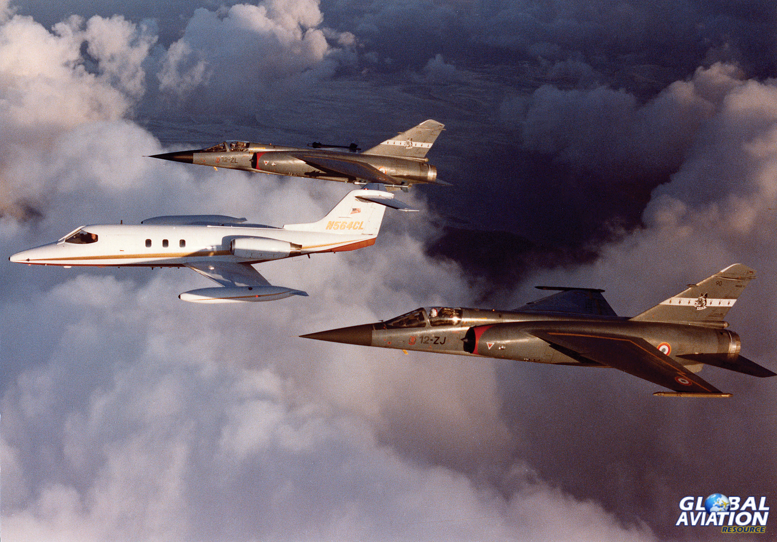 A Lear with a pair of Mirage F-1s- Clay Lacy Collection