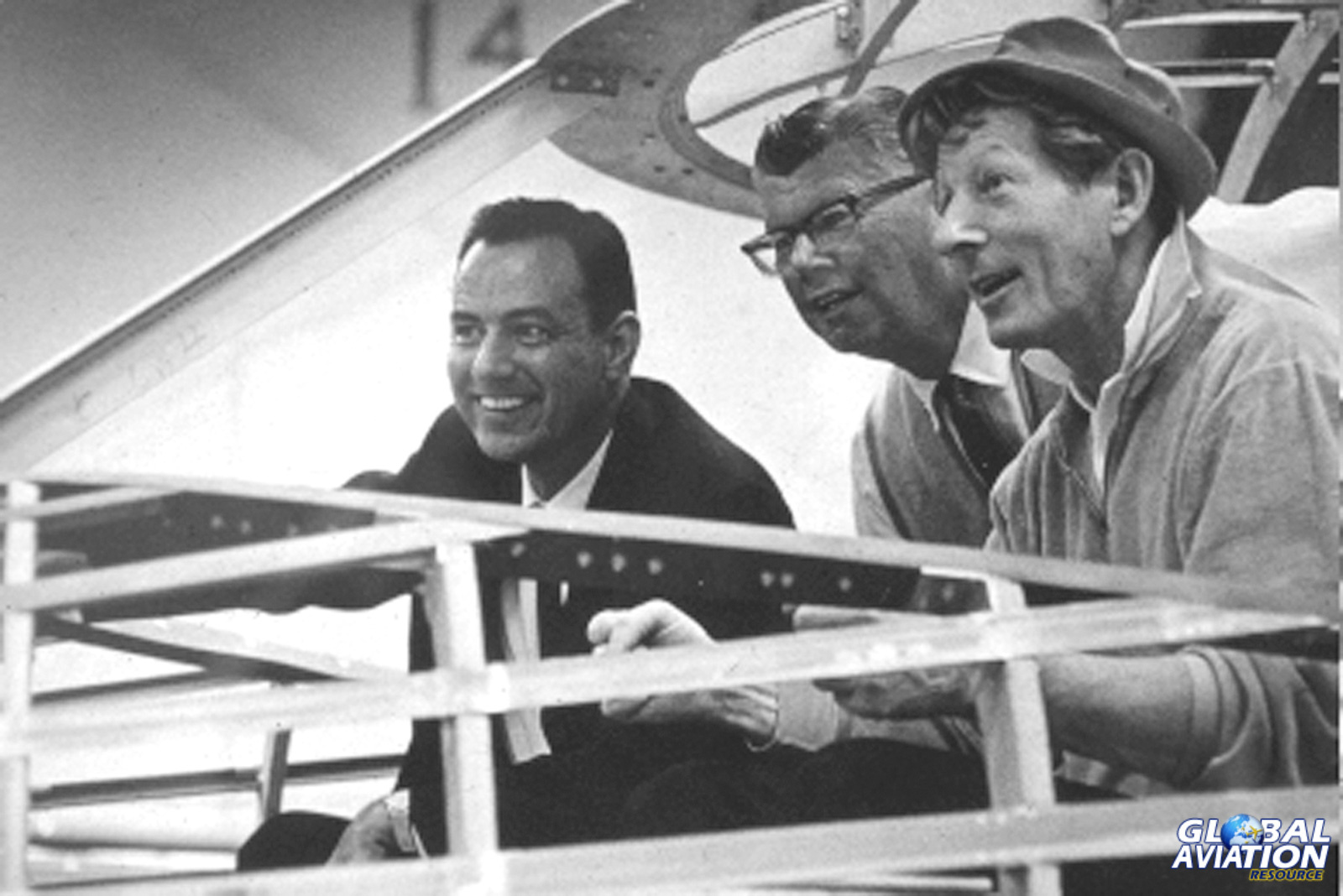 Bill Lear, Danny Kay and Clay lock at the mockup of the jet- Clay Lacy Collection