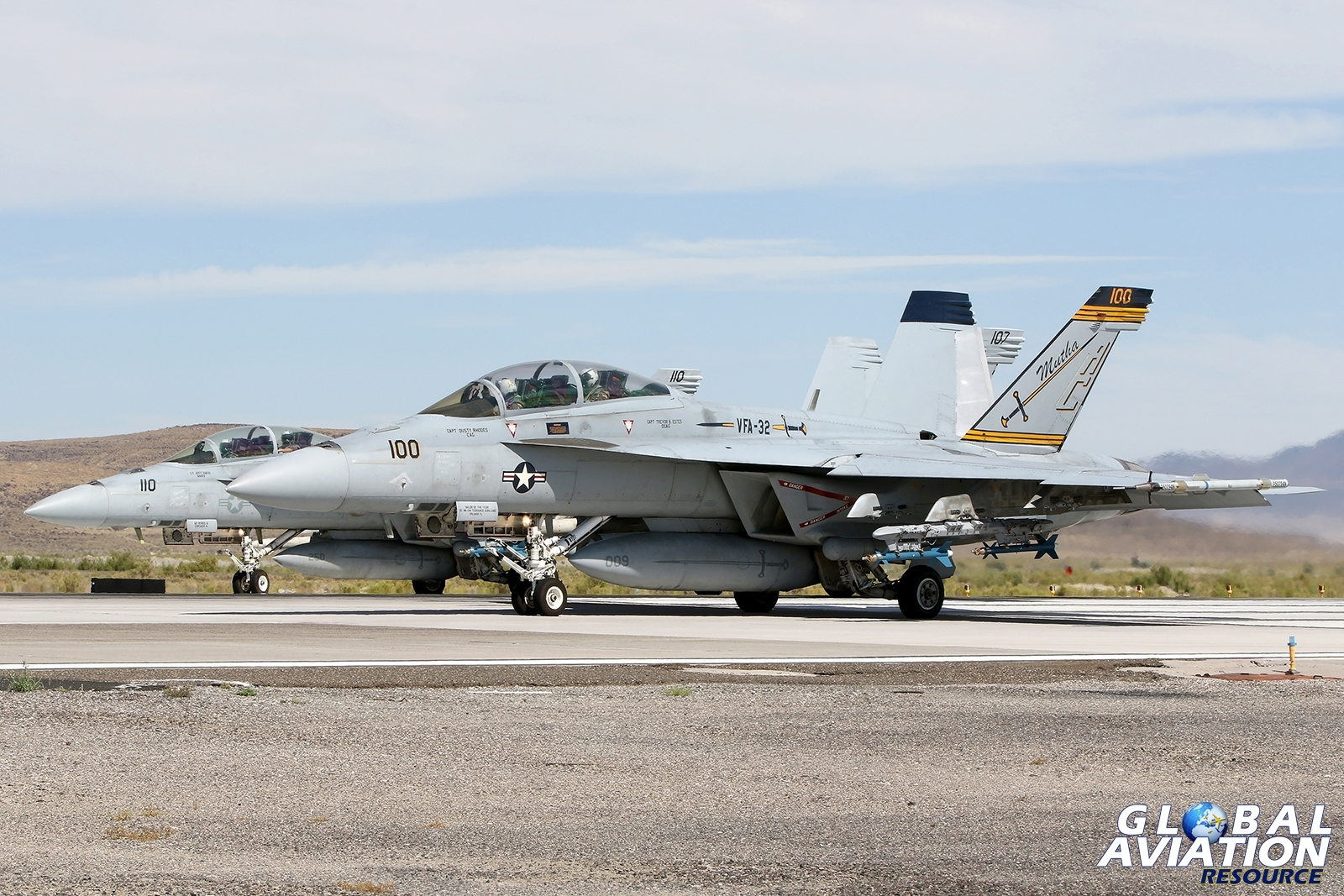 Three F/A-18Fs from VFA-32 about to depart from Fallon © Paul Dunn - Global Aviation Resource