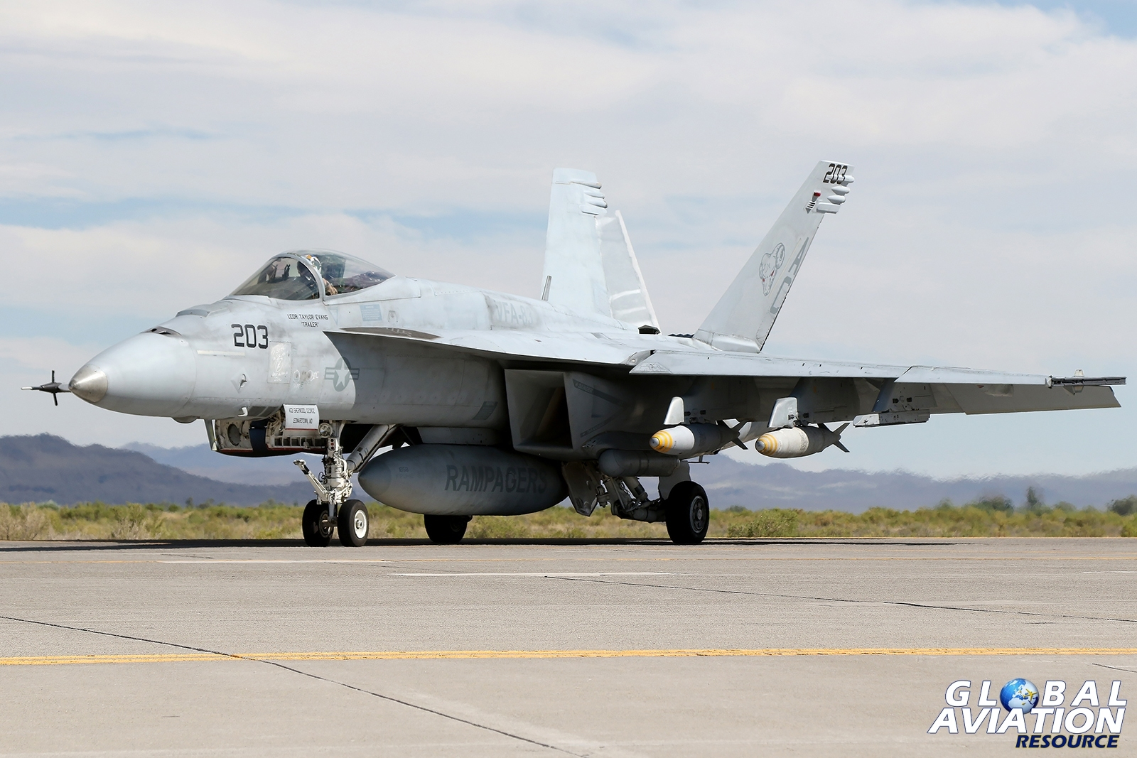 F/A-18E Super Hornet from VFA-83 Rampagers before departure. The aircraft carries four live Mk83 1000lb bombs © Paul Dunn - Global Aviation Resource