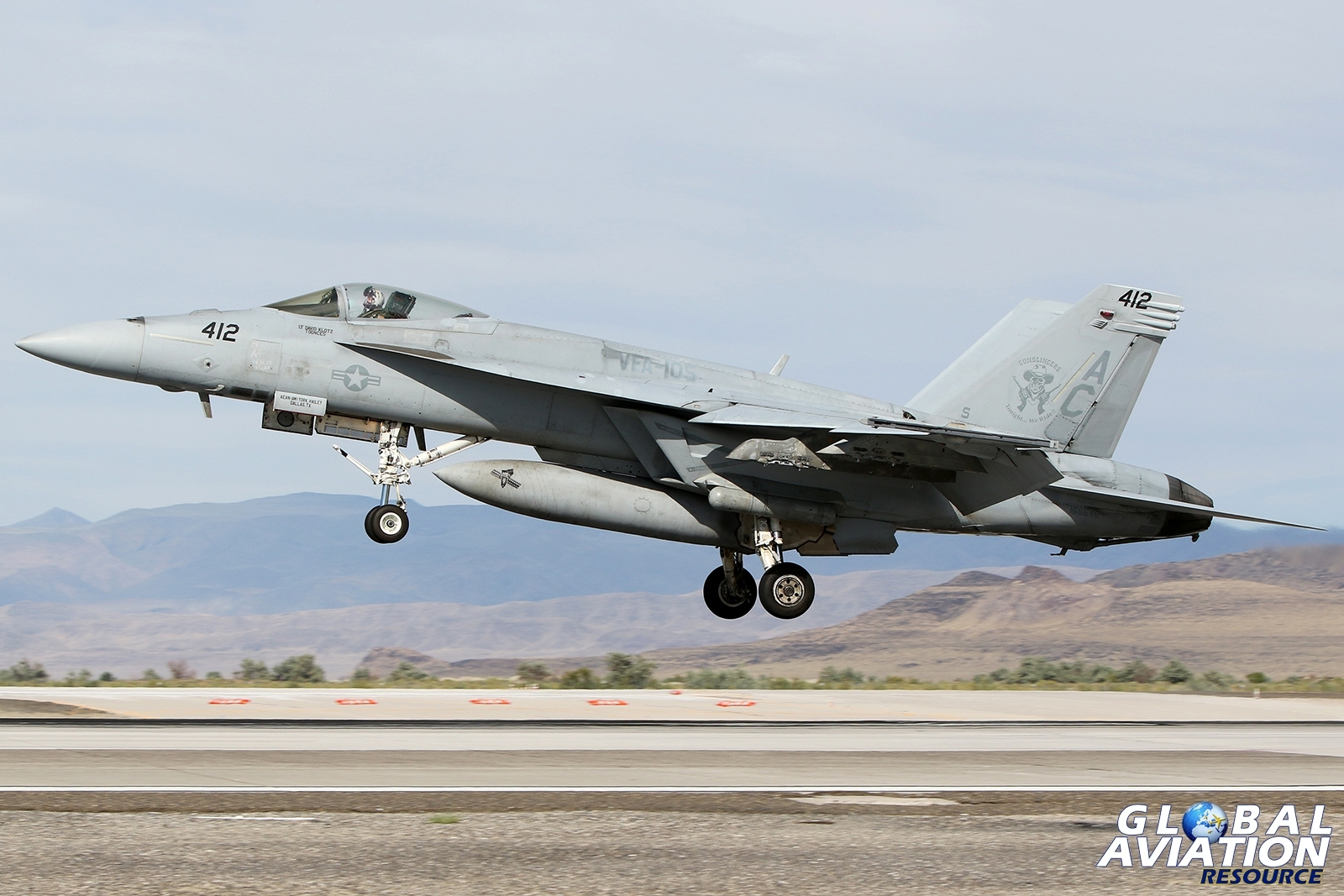 F/A-18E Super Hornet from VFA-105 about to touch down at Fallon © Paul Dunn - Global Aviation Resource