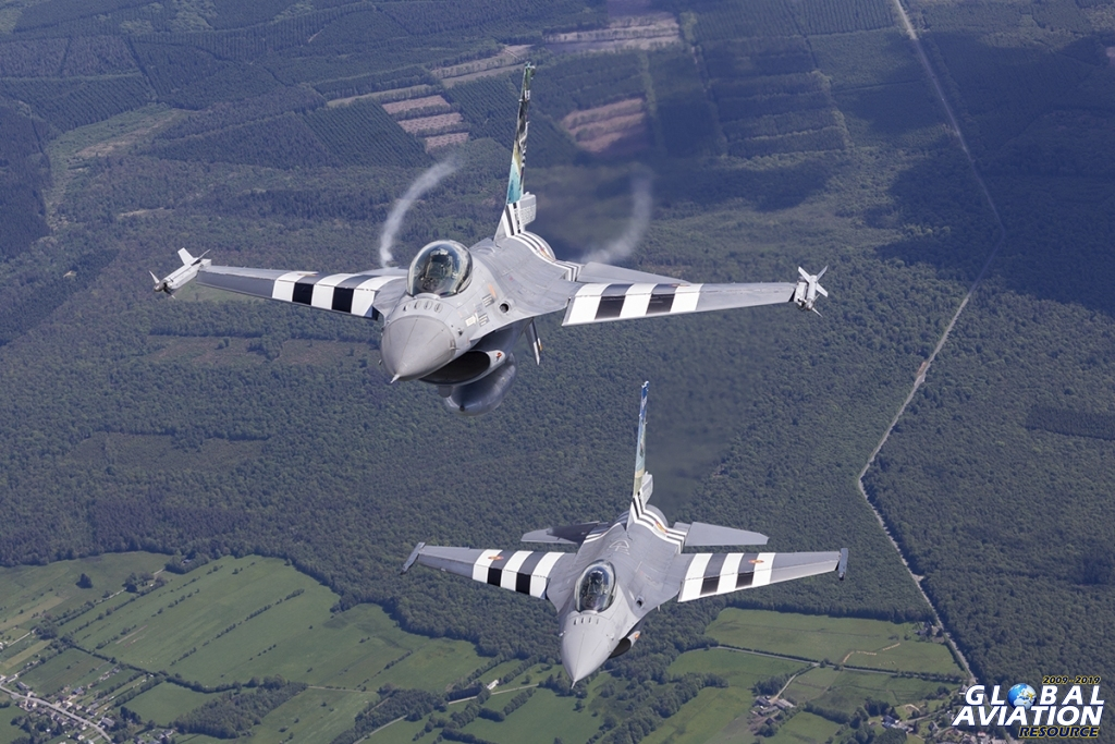 Belgian Air Force F-16s with D-Day stripes © Tom Gibbons - Global Aviation Resource