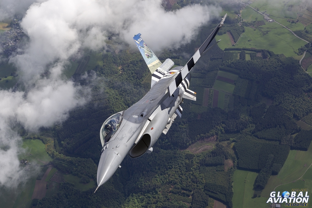 Belgian Air Force F-16 with D-Day stripes © Tom Gibbons - Global Aviation Resource