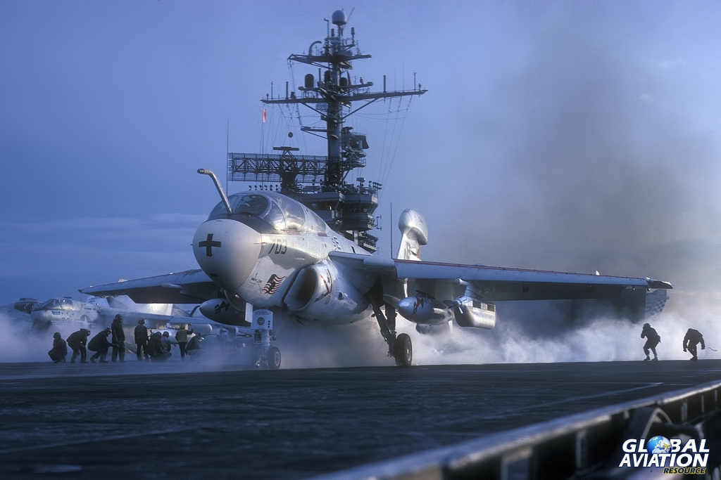 EA-6B - 158804 - VAQ-133 - USS Kennedy - 12/75 © Lindsay Peacock - Global Aviation Resource