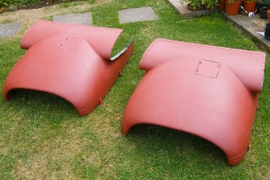 The top sections of the engine cowlings were delivered in July, 2014, having been refurbished by BNAPS Supporter Dave Lister at his home in Dorking.  © Dave Lister