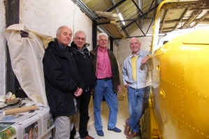 BNAPS Trustees, left to right Bob Wealthy, Peter Graham, Bob Wilson and Guy Palmer, view VCN's painted fuselage October 2014  © Bob Wealthy