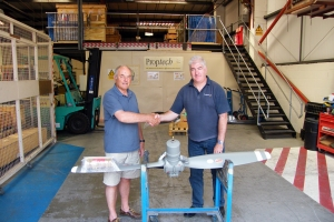 Proptech's Customer Support Engineer, Alistair Mant, (right) hands over the first exhibition standard propeller to BNAPS's Bob Wealthy, July, 2013.  © Bob Wealthy Collection