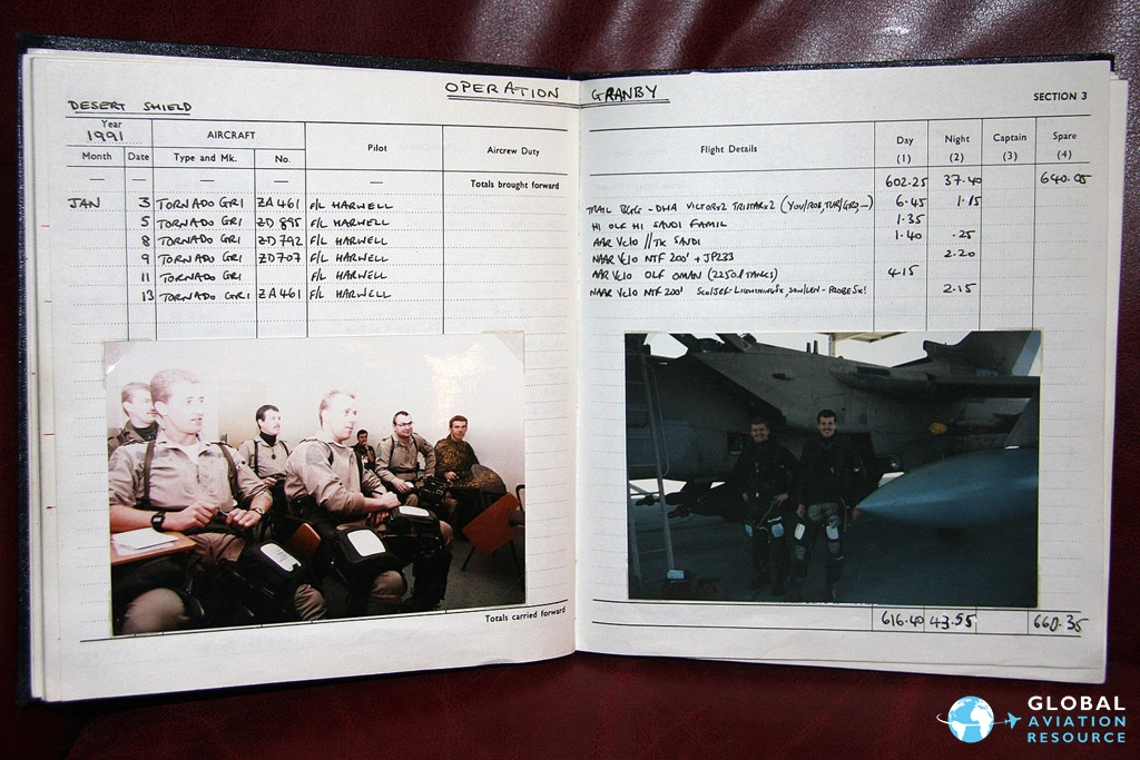 Martin Wintermeyer's log book showing flights under the auspices of Operation Granby © Gareth Stringer
