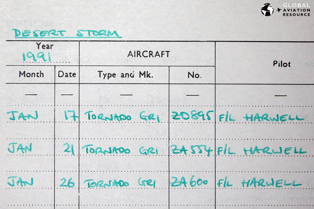 Desert Storm sorties in Martin's log book, including the first night (see below for the facing page) © Gareth Stringer
