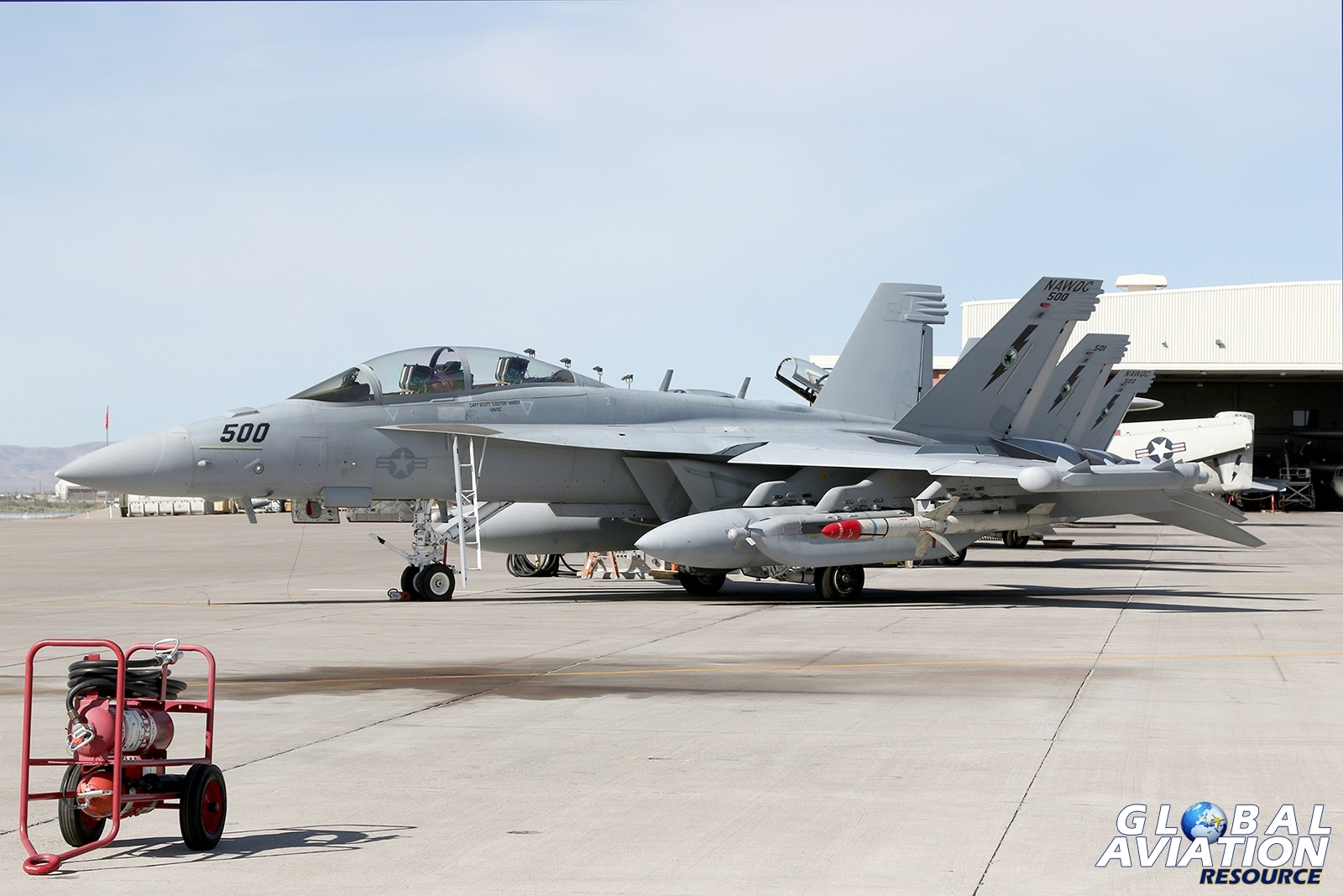 The NAWDC EA-18G Growler line on the Fallon ramp © Paul Dunn - Global Aviation Resource