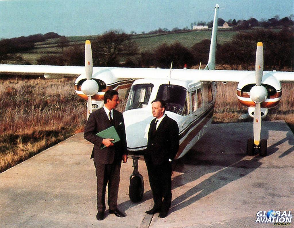 John Britten and Desmond Norman with their classic B-N Islander aircraft. © BN Historians/Bob Wilson© BN Historians/Bob Wilson - Global Aviation Resource