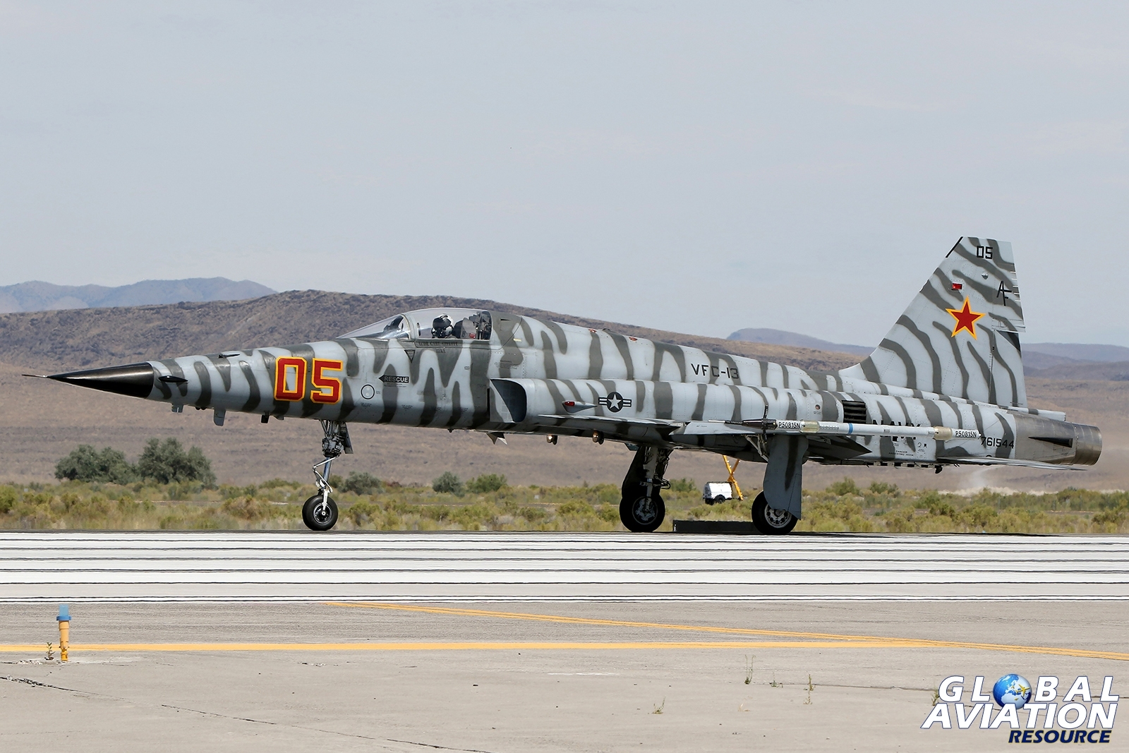 F-5E from VFC-13 Saints begins its take off roll at NAS Fallon © Paul Dunn - Global Aviation Resource