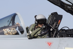 German Air Force EF2000 pilot checks on shut down progress © Tom Gibbons - Global Aviation Resource