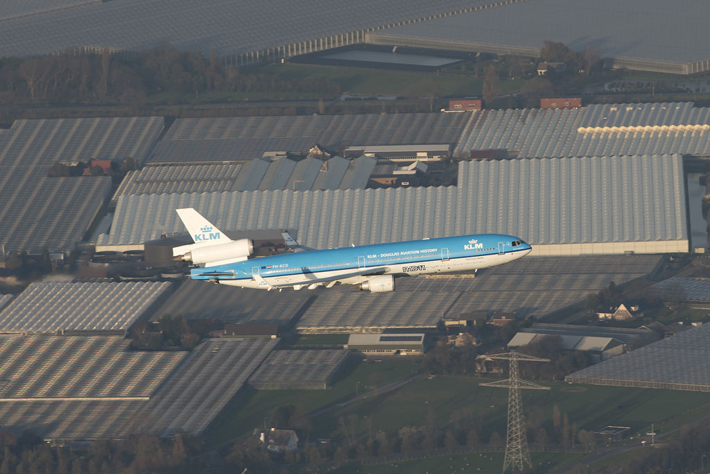 An air-to-air shot of the final passenger flight of a KLM MD-11 © Evert Keijzer - Ironbird Photography